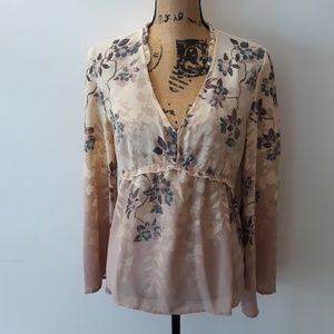Maurices V-Neck Floral Bell Sleeve Blouse Size M